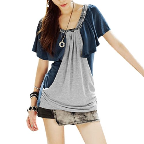 Two Tone Double V Neck Stretch Knitwear Shirt for Women
