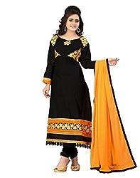 Lookslady Cotton Black Women Clothing Semi Stitched Salwar Kameez Suit