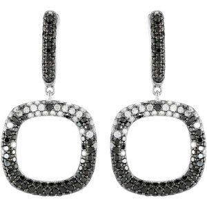 14k White Gold Black and White Rough Diamond Earrings With Black Rhodium 2 1/6ct - JewelryWeb
