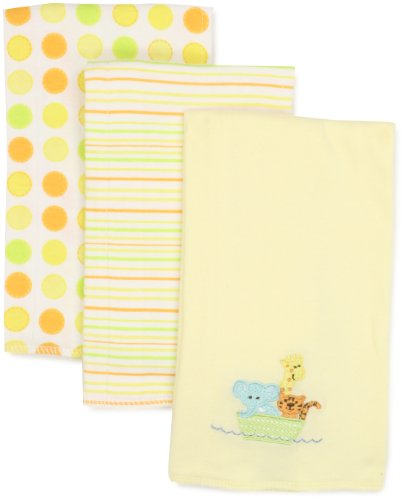 SpaSilk Unisex-Baby Newborn 3 Pack 100% Cotton Burp Cloths, Yellow, 12x17