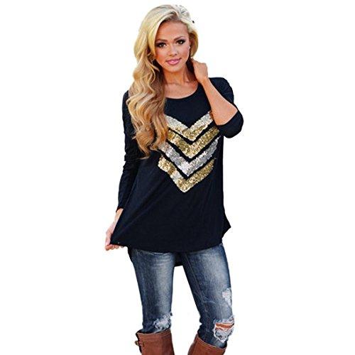 Internet Womens Long Sleeve Pailletten Decor Pullover lose Hemden Bluse Top T Shirt ( EU38(Asia L), Schwarz)