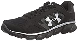 Under Armour Kids Boy\'s UA BGS Assert V (Big Kid) Black/Black/Metallic Silver Sneaker 4.5 Big Kid M