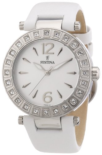 Festina F16645/1 - Reloj analógico para mujer de cuero blanco