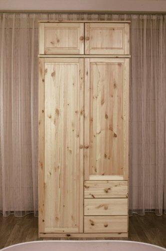 Kleiderschrank Schrank Schlafzimmer Jugendzimmer Kiefer massiv, Farbe:Gebeizt/Geölt günstig bestellen