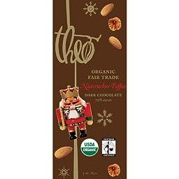 Theo Organic Nutcracker Toffee Fair Trade Dark Chocolate 70% Cacao, (4 Pack)