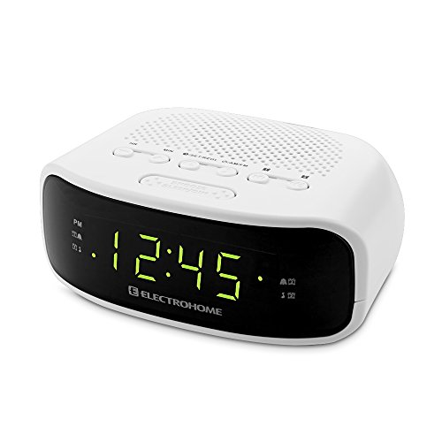 Electrohome Digital AM/FM Clock Radio with Battery Backup, Dual Alarm, Sleep & Snooze Functions, Display Dimming Option (EAAC201)
