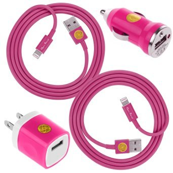 2x 3FT Heavy Duty Lightning Cable Charger Cord w/ USB Wall Adapter & Car Charger for iPhone 6S, 6, iPad (HotPink) (Lightning Cord Wall Adapter compare prices)