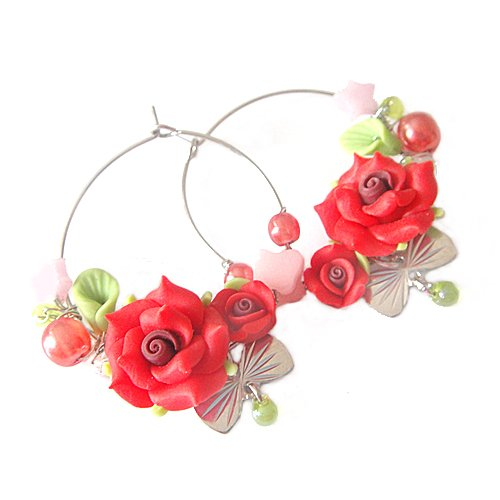 Bohemian Style Polymer Clay Flower Star and Butterfly Knot Hoop Earring (Red with white gold plated)