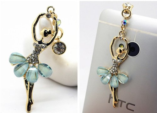 Big Mango Pretty Crystal Ballet Dancer Anti Dust Plug Stopper / Ear Cap / Cell Phone Charms For Apple Iphone 5 5S,Iphone 4 4S ,Ipad Mini Ipad 2 ,Ipod Touch 5 4,Samsung Galaxy S3 S4 Note3 Note 2,Htc And Other 3.5Mm Earphone Jack Phones - Sky Blue