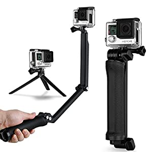 Wealpe 3-Way Grip Arm Tripod - 3 in 1 - Extension Stick, Handle, Tripod Mount for GoPro Hero4 Session Hero4 Hero3+ Hero3 Hero2 Hero Cameras