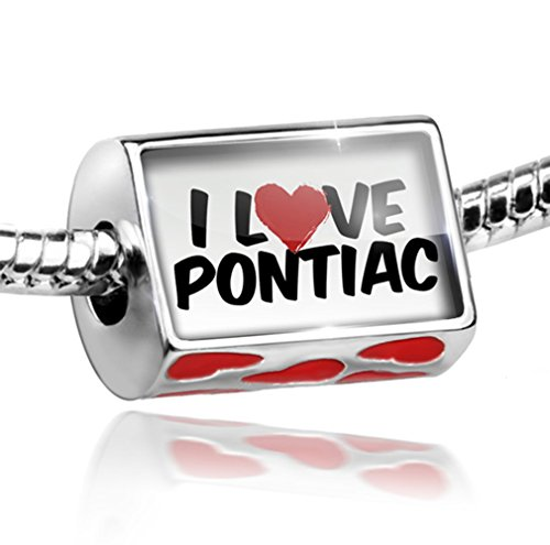 Bead with Hearts I Love Pontiac - Charm Fit All European Bracelets, Neonblond (Pontiac Charm compare prices)