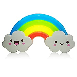 LED Rainbow Colorful Smiley Face Cloud Night Light Voice&Light Control Decorative Lights Baby Bedside Lamp Children Present/Toy by BRZONE