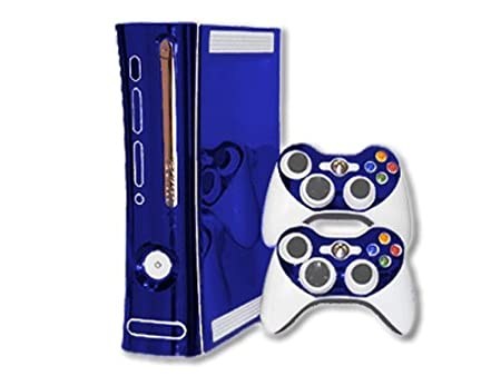 Xbox 360 Skin - NEW - BLUE CHROME MIRROR system skins faceplate decal mod