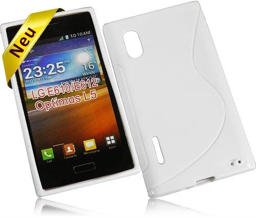 Für LG E610 Optimus L5 New Style S Design Tasche Silikon TPU Rubber Case Handytasche Hülle Schutzhülle Silicon Skin Cover in Weiß