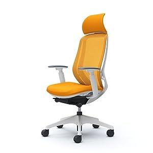 オカムラ オフィスチェア シルフィ― エキストラハイバック メッシュ アジャストアーム 樹脂脚 ホワイトフレーム C68AXW-FMR8 オレンジ