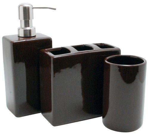 Nuvo Design 3-Piece Nova Ceramic Bath Set, Black