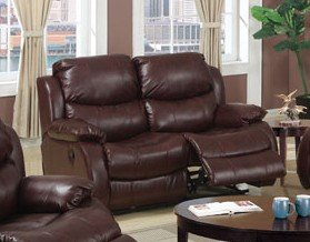 Buy Low Price Poundex Motion Loveseat Sofa in Brown Merlot Bonded Leather Match (VF_F7724)