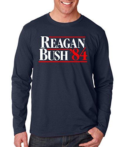 Men's Reagan Bush 84 Republican Presidential Campaign Long Sleeve T Shirt Small Navy Blue (Bush Campaign compare prices)