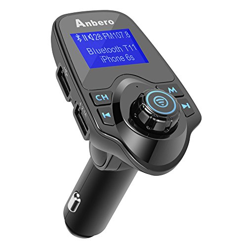Anbero Bluetooth Kfz FM-Transmitter Freisprecheinrichtung Auto Aux Adapter mit USB-Ladegerät, 1,44 Zoll Digital Display, Lesen Micro SD-Karte und USB-Stick