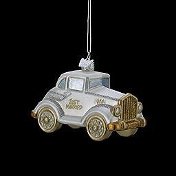 4.5 NOBLE GEMS GLASS GLITTERED JUST MARRIED WEDDING CAR ORNAMENT by Kurt S Adler