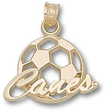 Miami Hurricanes Canes Soccerball Pendant - 14KT Gold Jewelry by Logo Art