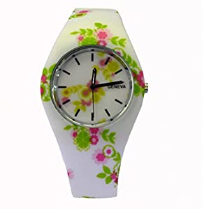Style Gift Women Ladies Flower Print Rubber Unisex Quartz Watch SG1237-#3