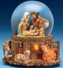 #!Cheap Fontanini Musical Lighted Nativity Stable Scene Christmas Glitterdome #66129