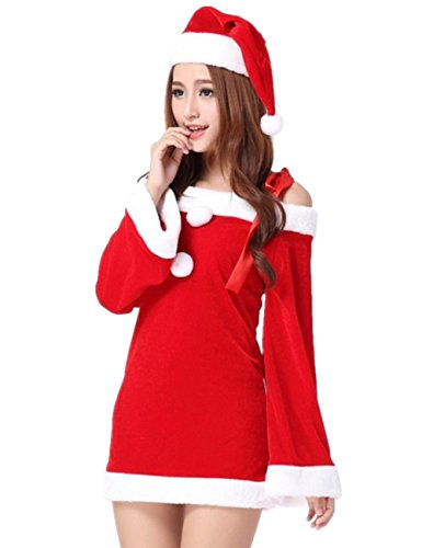 Sexy Lovely Miss Santa Claus Mini Dress Xmas Party Costume Clothing 2pcs/set