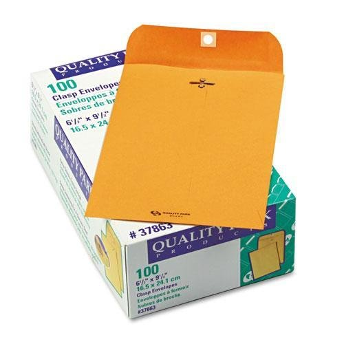 QUALITYPARK 37863 Clasp Envelope, 6 1/2 x 9 1/2, 28lb, Brown Kraft, 100/Box kitqua37798saf7751gr value kit quality park clasp envelope qua37798 and safco e z sort steel mail sorter module saf7751gr