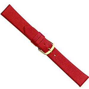 Herzog Design I watch strap watchband calf Leather Band red 20509G, Band Width: 18mm
