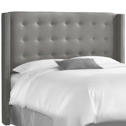 Skyline Furniture Linen Queen Nail Button Wingback Headboard, Gray