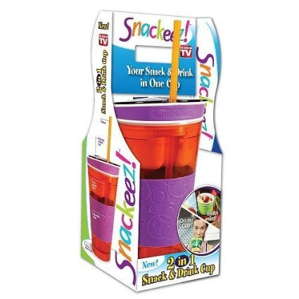 Snackeez Plastic 2 in 1 Snack & Drink Cup One Cup  Assorted Colors
