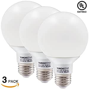 Vanity Light Bulbs Daylight : 3-PACK 7W Dimmable G25 LED Bulb, 60W Incandescent Equivalent Vanity Light Bulb, UL listed Damp ...