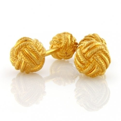 Bling Classic Gold Vermeil Double Woven Love Knot Double Faced Cufflinks
