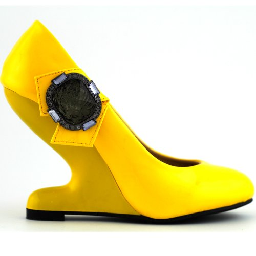 Show Story Yellow Rhinestones Curved Heel Less High Heels Wedge Pumps,Lf30205Yl40,8Us,Yellow
