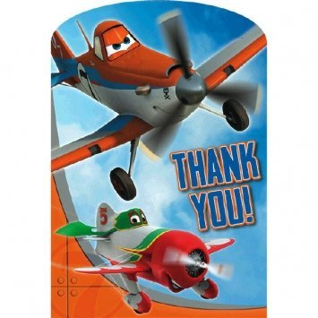Amscan Disney Planes 2 Birthday Party Thank You Cards (8 Piece), Multi, 4 1/4 x 5 7/9""