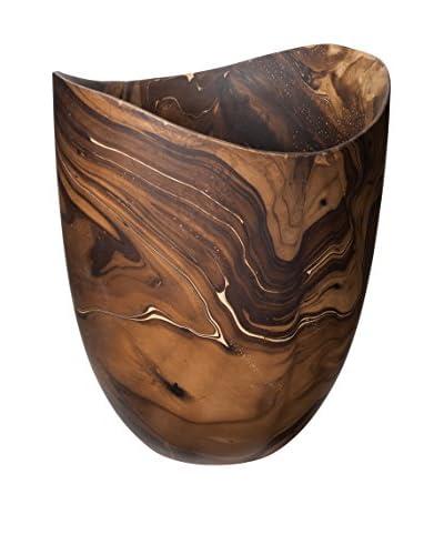 Large Dry Marbled Wood Vase, Brown