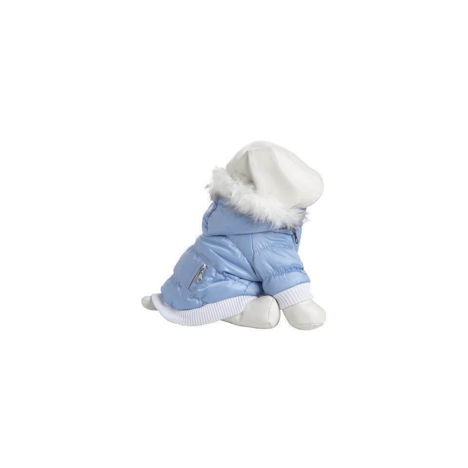 Pet Life DPF00062 Metallic Ski Parka Dog Coats with Removable Hood, X Small, Blue