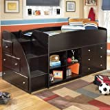 Market Square Eastport Loft Bed with Bookcase and Drawer Storage