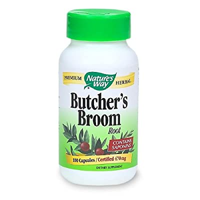 Nature's Way Butcher's Broom Root, 470mg, 100 Capsules (Pack of 2)
