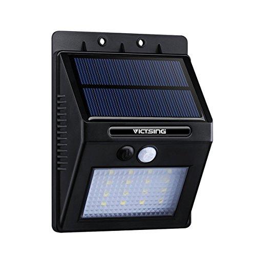 VicTsing 320lm Lampada Solare LED ad Energia Impermeabile con Sensore di Movimento, Luci Solari da Esterno con 16 LED Lampadine, per Casa, Giardino, Scale, Cortile, Fuori Muro, Nero