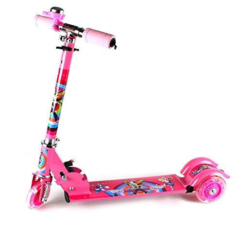 Street Fairy Children'S Kid'S Three Wheeled Metal Toy Kick Scooter W/ Light Up Wheels, Integrated Handlebar Bell (Pink)