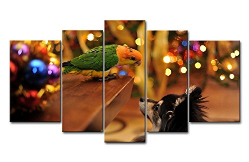 5 Piece Wall Art Painting Parrot Looking Down On The Dog Pictures Prints On Canvas Animal The Picture Decor Oil For Home Modern Decoration Print For Kids Room