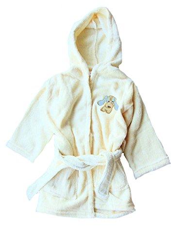 Baby und Kinder Bademantel, Flausch-Bademantel mit Kapuze und Stickerei, creme, AM-Baby-BM-56974-cr, Größe nach Körperlänge in cm:74/80