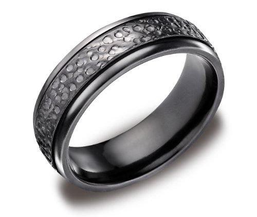 Men's Black Titanium 7mm Comfort Fit Wedding Ring Band Hammered Center High Polished Edges, Size 8.5