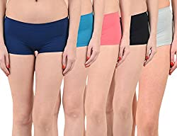Mynte Women's Sports Shorts (MEWIWCMBP-105-104-102-100-98, Blue, Pink, Black, Grey, , Free Size, Pack of 5)