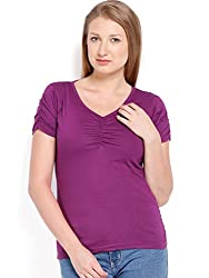 ESPRESSO V NECK TOP - PURPLE