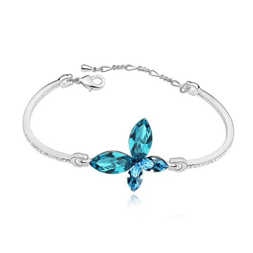Dreamslink Fashion Jewellery 18K White Gold Plated Bangle Chain Sky Blue Swarovski Elements Austria Crystal Lovely Butterfly Bracelet 92765