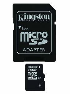 Kingston Carte mémoire microSDHC avec adaptateur SD Classe 4 16 Go