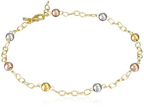 14k-Gold-Bonded-Sterling-Silver-Tri-Color-Beaded-Station-Anklet